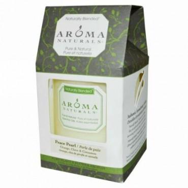 Aroma Naturals, Naturally Blended™(天然ブレンド)、ピラーキャンドル、ピースパール、オレンジ、クローブ、シナモン、3 x 3.5インチ(約 7.6 x 8.9cm) (Discontinued Item)