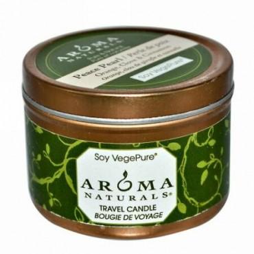 Aroma Naturals, 大豆 ベジピュア、 トラベル キャンドル、 ピースパール、 オレンジ、 クローブ & シナモン、 2.8 oz (79.38 g) (Discontinued Item)