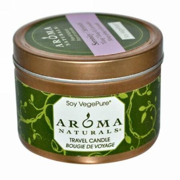 Aroma Naturals, Soy VegePure, トラベルキャンドル, セレニティ, イランイラン & ラベンダー, 2.8 オンス (79.38 g)