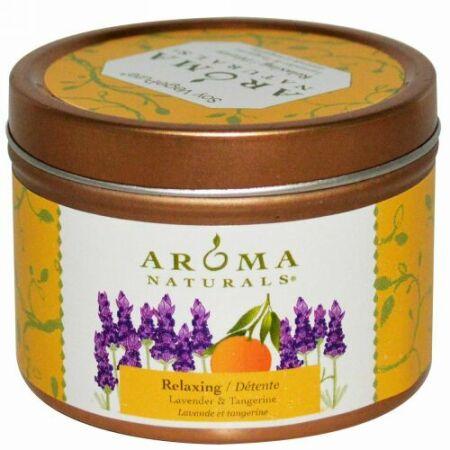 Aroma Naturals, 大豆ペジピュア, トラベル·ティンキャンドル, リラックス, ラベンダー & タンジェリン, 2.8 oz (79.38 g)