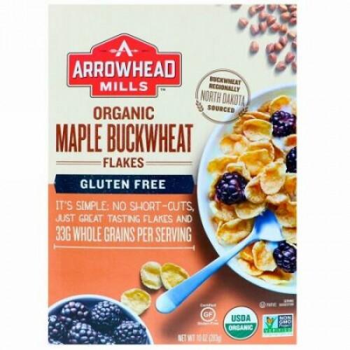 Arrowhead Mills, オーガニックメープルソバフレーク(Maple Buckwheat Flakes), グルテンフリー, 10オンス(283 g)