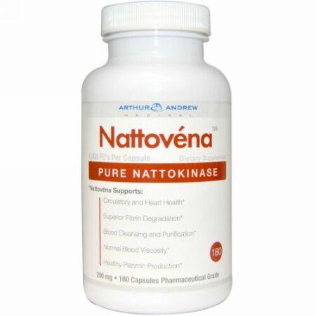 Arthur Andrew Medical, ナットベナ、純粋ナットウキナーゼ、200 mg、180カプセル