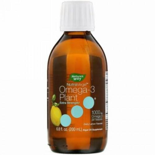 Ascenta, NutraVege(ナチュラベジ)、オメガ-3プラント、ゼスティレモンの香り、1000mg、200ml(6.8fl oz)