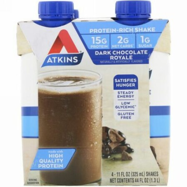 Atkins, ダークチョコレート ロイヤルシェイク、4 個、各 11 fl oz (325 ml) (Discontinued Item)