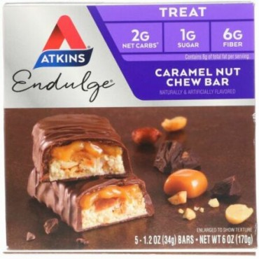 Atkins, エンダルジ,  キャラメルナッツチュー, 5 バー入り, 各1.2 oz (34 g)