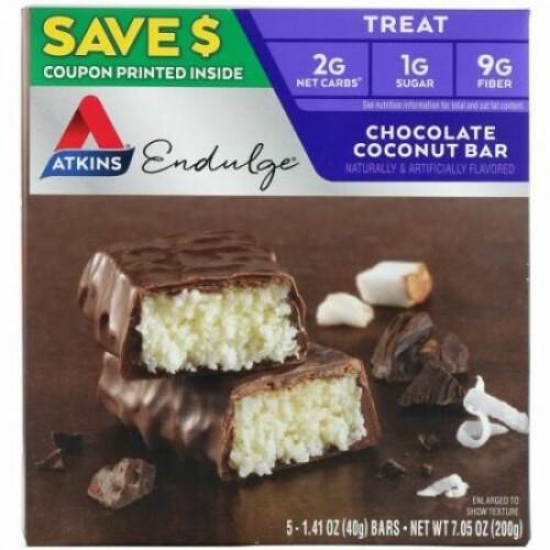 Atkins, エンダルジ、チョコレートココナッツバー、5本、各1.41 oz (40 g)