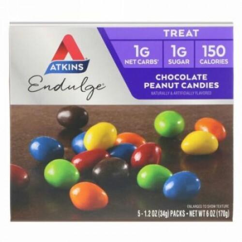 Atkins, Endulge(エンダルジ)、チョコレートピーナッツキャンディー、5袋、各34g(1.2オンス)