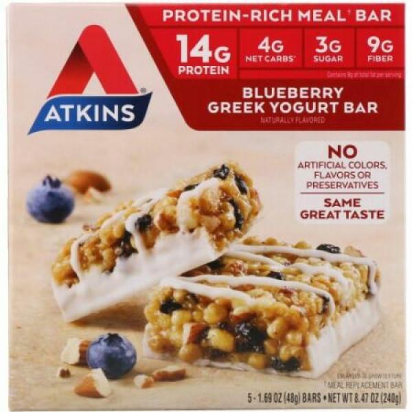 Atkins, ギリシャヨーグルトバー、ブルーベリー、5本入り、各1.69 oz (48 g)