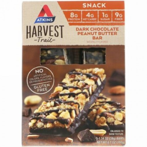 Atkins, Harvest Trail, Dark Chocolate Peanut Butter Bars, 5 packs, 1.34 oz (38 g) Each (Discontinued Item)