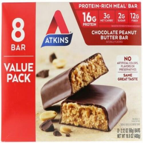 Atkins, Chocolate Peanut Butter Bar, 8 Bars, 2.12 oz (60 g)