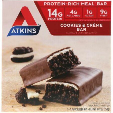 Atkins, ミールバー、クッキーアンドクリームバー、5本入り、各1.76 oz (50 g)