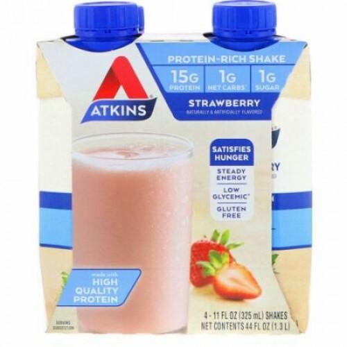 Atkins, Protein-Rich Shake, Strawberry, 4 Shakes, 11 fl oz (325 ml) Each (Discontinued Item)