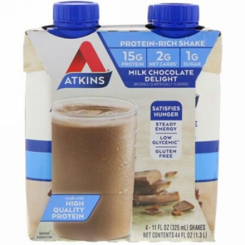 Atkins, アドバンテージ, ミルクチョコレート デライト シェイク, 4 シェイク, 各11 fl oz (325 ml) (Discontinued Item)