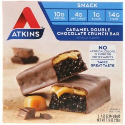 Atkins, スナック、キャラメルダブルチョコレートクランチバー、5本、各1.55オンス (44 g)