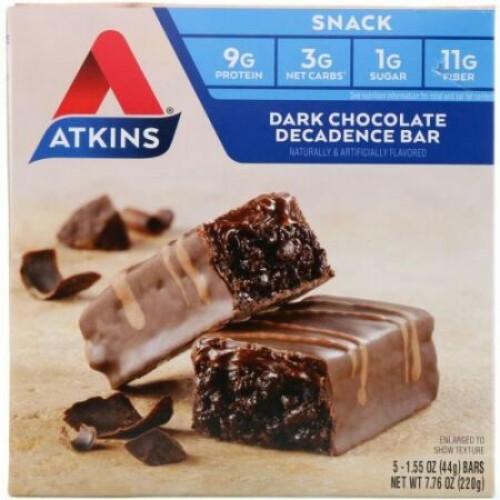 Atkins, ダークチョコレートデカダンスバー、 5バー、各1.6オンス (44 g) (Discontinued Item)