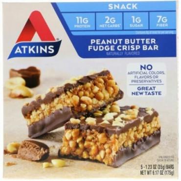 Atkins, スナック、ピーナッツバターファッジクリスプバー、5本、各1.2オンス(35 g)