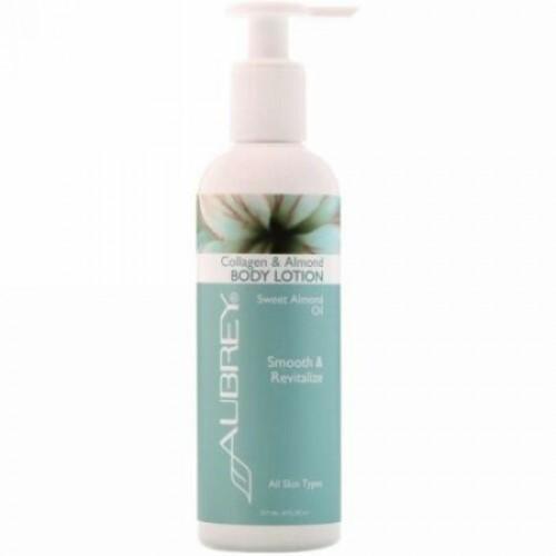 Aubrey Organics, Body Lotion, Collagen & Almond, All Skin Types, 8 fl oz (237 ml)