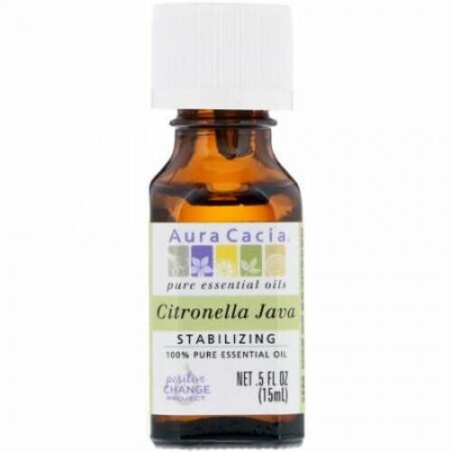 Aura Cacia, 100%ピュアエッセンシャルオイル、シトロネラジャワ、5液量オンス (15 ml) (Discontinued Item)