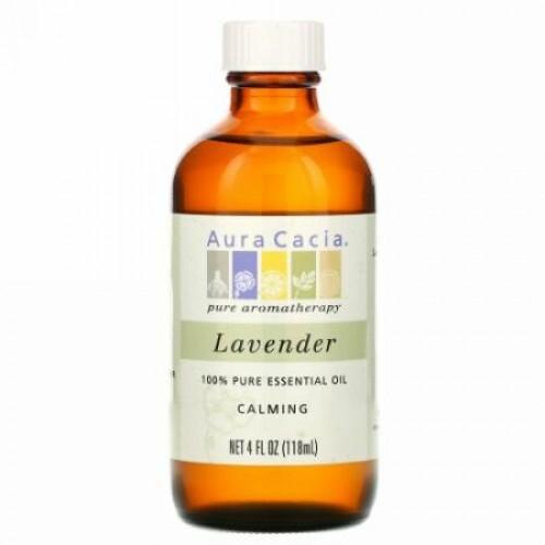 Aura Cacia, 100% 純エッセンシャルオイル、ラベンダー、 4 液量オンス (118 ml)