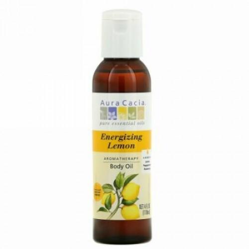 Aura Cacia, アロマセラピー ボディオイル, 元気が出る レモン, 4 オンス (118 ml)