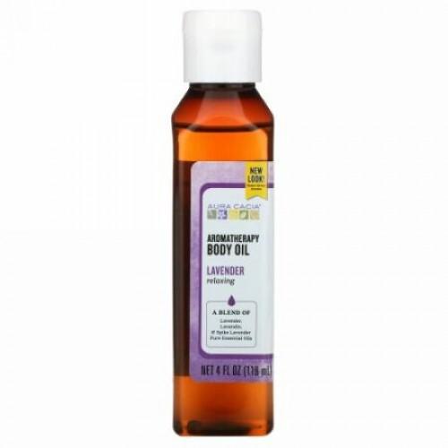 Aura Cacia, アロマテラピー・ボディオイル、 リラックシングラベンダー、 4液量オンス (118 ml)