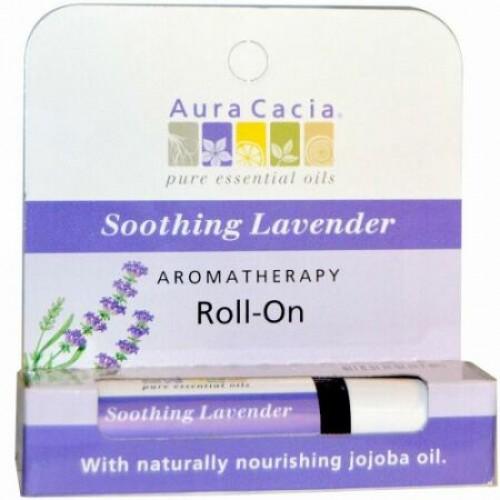 Aura Cacia, アロマテラピーロールオン、スムージングラベンダー、0.31液量オンス (9.2 ml) (Discontinued Item)
