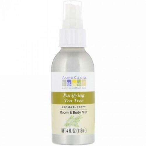 Aura Cacia, Aromatherapy Room & Body Mist, Purifying Tea Tree, 4 fl oz (118 ml) (Discontinued Item)