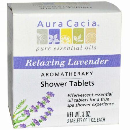 Aura Cacia, アロマセラピー シャワー用 タブレット, リラックスする ラベンダーの香り, 3 錠, 各1オンス (Discontinued Item)