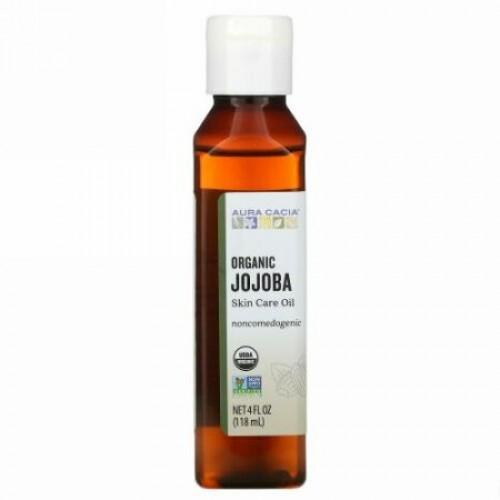 Aura Cacia, オーガニック、スキンケアオイル、バランスの取れたホホバ、4液体オンス (118ml)