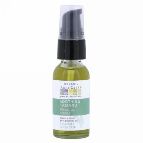 Aura Cacia, Organic Soothing Tamanu Facial Oil Serum, Lavender & Tea Tree, 1 fl oz (30 ml) (Discontinued Item)