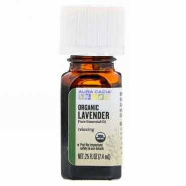 Aura Cacia, Pure Essential Oil, Organic Lavender, .25 fl oz (7.4 ml)