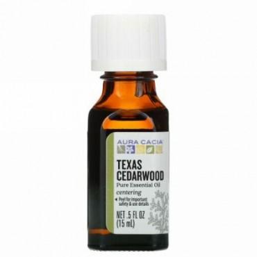 Aura Cacia, ピュアエッセンシャルオイル、テキサスシダーウッド、15ml(0.5液量オンス)