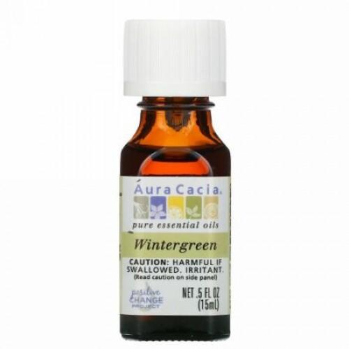 Aura Cacia, 100% ピュアエッセンシャルオイル、 ウィンターグリーン、 .5 fl oz (15 ml) (Discontinued Item)