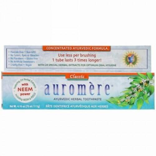 Auromere, アーユルヴェーダハーバル歯磨き粉、クラシック、117g(4.16oz)