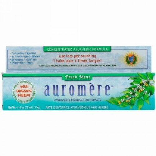 Auromere, アーユルヴェーダハーブ歯磨き粉、フレッシュミント、117g(4.16oz)