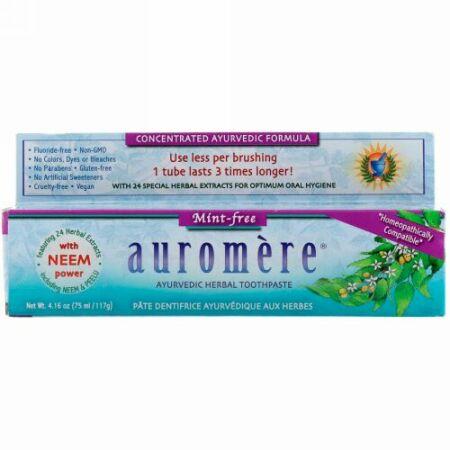 Auromere, アーユルヴェーダのハーブ練り歯磨き, ミントフリー, 4.16オンス(117 g)