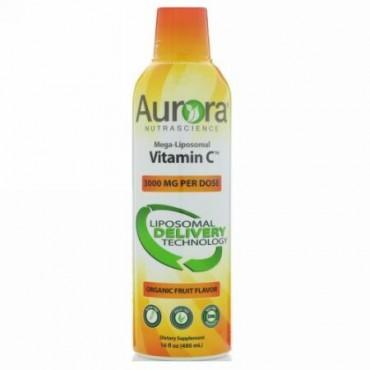 Aurora Nutrascience, Mega-Liposomal Vitamin C(メガ リポソームビタミンC)、オーガニック果実味、3,000mg、480ml(16液量オンス) (Discontinued Item)