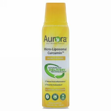 Aurora Nutrascience, マイクロリポソームクルクミン、すべてナチュラルフルーツ味、200mg、5.4 fl oz (160 ml) (Discontinued Item)