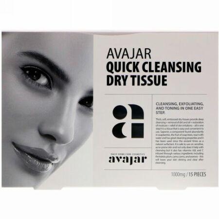 Avajar, クイッククレンジングドライティッシュ、15枚 (Discontinued Item)
