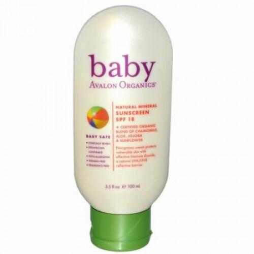 Avalon Organics, Baby, Natural Mineral Sunscreen, SPF 18, 3.5 fl oz (100 ml) (Discontinued Item)