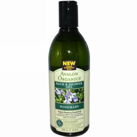 Avalon Organics, バス&シャワージェル、ローズマリー、 12液量オンス (355 ml) (Discontinued Item)
