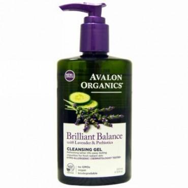 Avalon Organics, ブリリアントバランスクレンジングジェル、ラベンダー&プレバイオティクス、 8 fl oz (237 ml) (Discontinued Item)