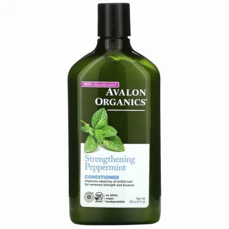 Avalon Organics, コンディショナー、強化するペパーミント、11液量オンス(325 ml)