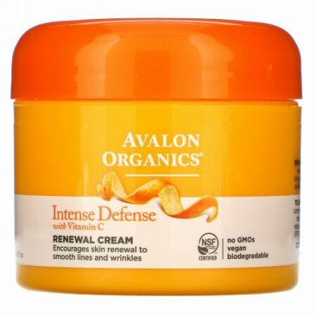 Avalon Organics, ビタミンCリニューアルクリーム入りインテンス・ディフェンス、2 oz (57 g)