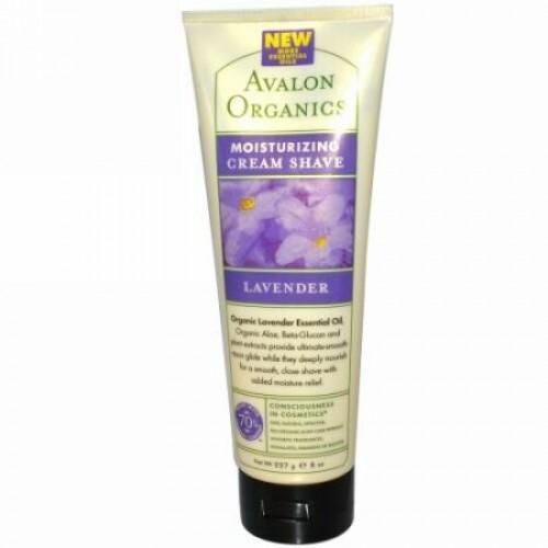 Avalon Organics, モイスチャライジング クリームシェーブ、ラベンダー、8 oz (227 g) (Discontinued Item)