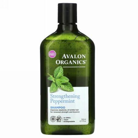 Avalon Organics, シャンプー、ペパーミントの強化、11 fl oz (325 ml)