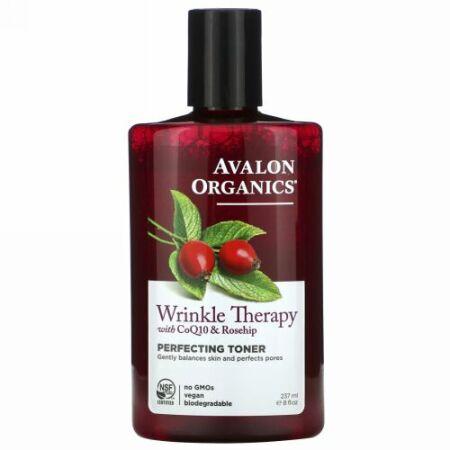 Avalon Organics, コエンザエムCoQ10とローズヒップ(薔薇の実)のしわ治療, 仕上げトナー, 8液量オンス(237 ml)