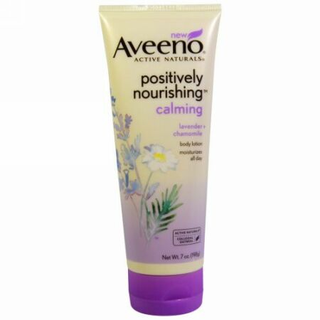 Aveeno, アクティブナチュラルズ、 ポジティブリー栄養補給カ鎮静ボディローション、 ラベンダー + カモミール、 7 oz (198 g) (Discontinued Item)