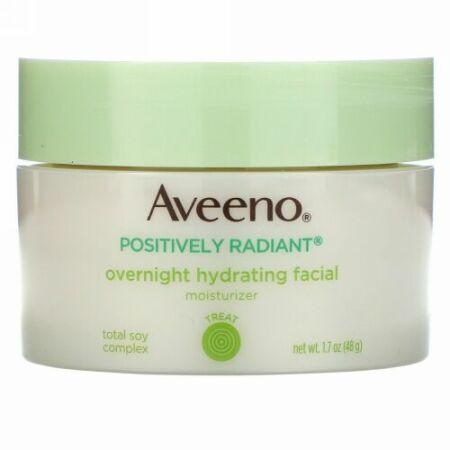 Aveeno, アクティブナチュラルズ、ポジティブな輝き、オーバーナイトハイドレーティングフェイシャルモイスチャライザー、1.7オンス (48 g)