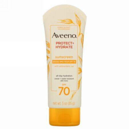Aveeno, アクティブナチュラル、プロテクト+高保湿ローション、日焼け止め、SPF70、3oz(85g)